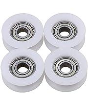 4 piezas Rodamiento de rodillos de pista de ranura en U de ranura redonda Polea de nylon