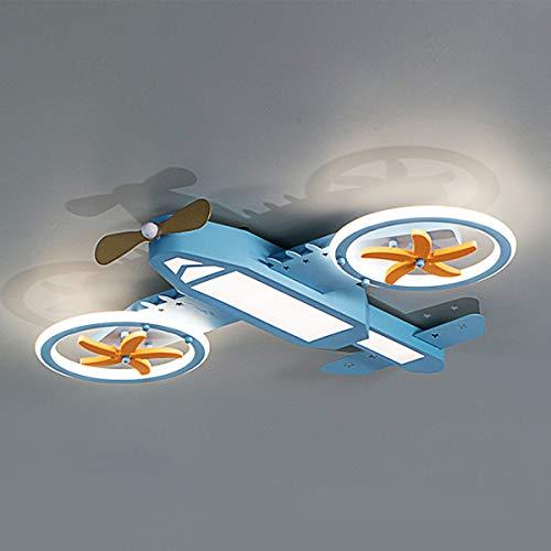 LED Niño Lámpara de techo Regulable Cuarto de los niños Avión Luz de techo, Chico Dormitorio Luz deco, Aspas de ventilador Automáticamente Hacer girar Lámpara de dormitorio, Hierro y acrílico, L73cm