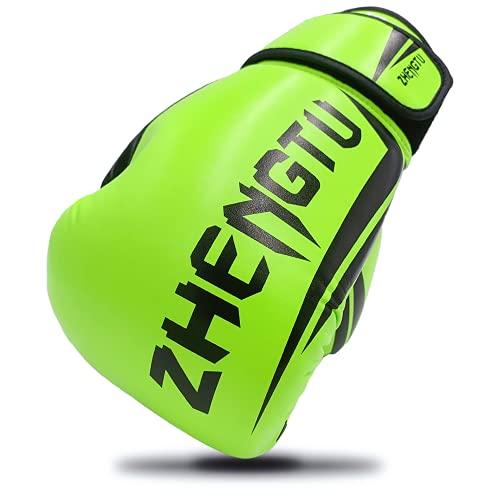 ZTTY ボクシング グローブ PU ラテックスコットン 通気性 テコンドー 格闘技 空手用手袋 スパーリンググローブ 5色 (緑, 8oz)