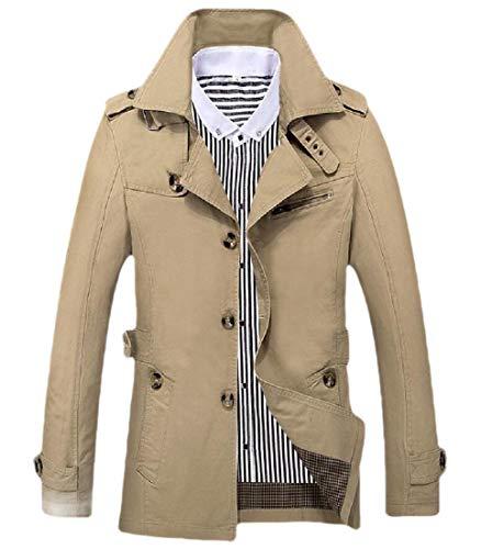H.Wang Men's Fall Winter Lapel Single Breasted Jacket Coat Woolen Overcoat Trench Coat Dark Grey M