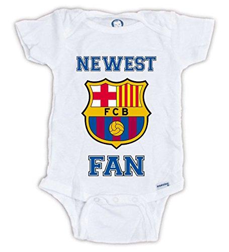 Juju Apparel Barcelona Fan Onesie, Barcelona Bodysuit (Newborn) White