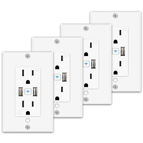 Lumary Smart WiFi In-Wall Outlet 15 Amp Tamper Resistant Split Duplex Receptacle, Separate Control of 2 Plugs and Simultaneous Control of 2 USB Ports, Compatible with Alexa, Google Home - 4 Pack