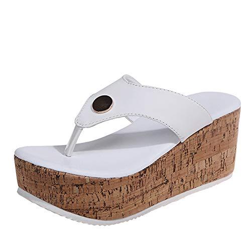 URIBAKY - Sandalias para mujer, transpirables, con tacón compensado, zapatillas de ocio al aire libre, Blanco (blanco), 38 EU