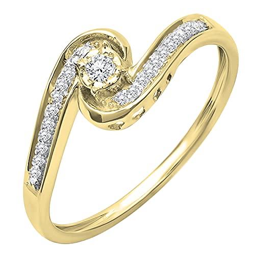 Dazzlingrock Collection Anillo de compromiso de 0,15 quilates de diamante blanco redondo para mujer con giro moderno y elegante, oro amarillo de 14 quilates, talla 9