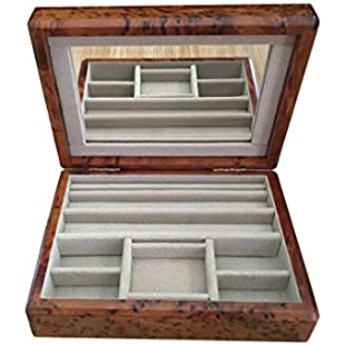 Customer reviews Large Solid Wood Handmade Cufflink Earring Jewellery Box With Mirror and Velvet Lining