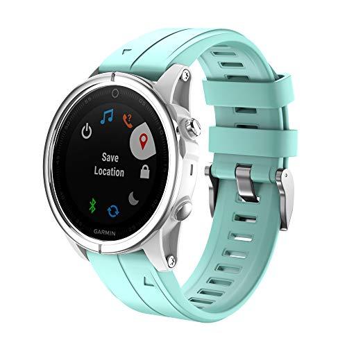 NotoCity Armband für Garmin Fenix 5S / 5S Plus/Fenix 6S / 6S Pro / D2 Delta S, 20mm Breite Silberne Schnalle Silikon Quick-Fit Uhrenarmband für Garmin, Mehrfache Farben (Mintgrün)