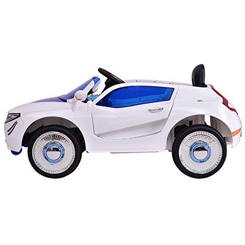 RC Auto kaufen Kinderauto Bild 4: COSTWAY 2.4G Elektroauto Kinderauto Elektrofahrzeug Kinderfahrzeug Elektro Auto Zwei Motor mit Fernbedienung und Musik (Weiß)*