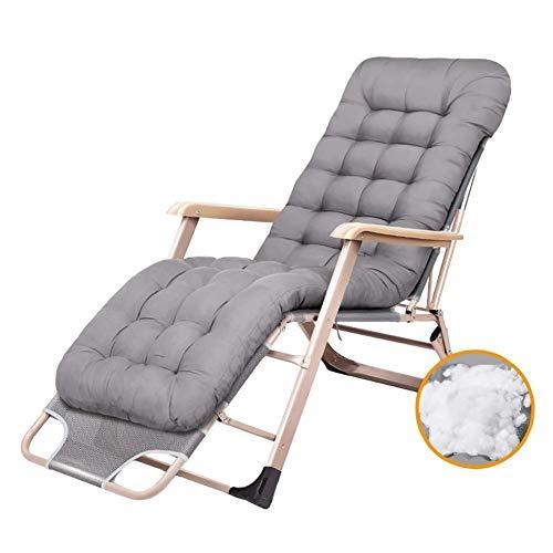 WJXBoos Zero Gravity Tumbona Silla de jardín Silla plegable Silla de jardín reclinable para exteriores Silla de camping portátil para personas pesadas con cojines (color: negro)