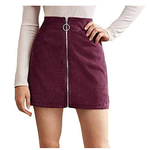 Vectry Damenmode Miniröcke Cord Mädchen Sexy Uniform Einfarbig Reißverschluss Hohe Taille Gefaltete Minikleider Party Täglichen Schule Arbeitskleidung Lila XL