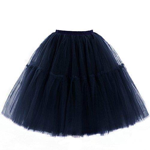Babyonline Damen Tüllrock 5 Lage Prinzessin Kleider Knielang Petticoat Ballettrock Unterrock Pettiskirt Swing One Size - Dunkel Blau
