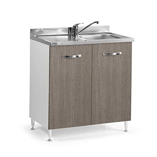 Mobile Sottolavello Per Cucina larice grigio 2 Ante Cm 80x50xh 85