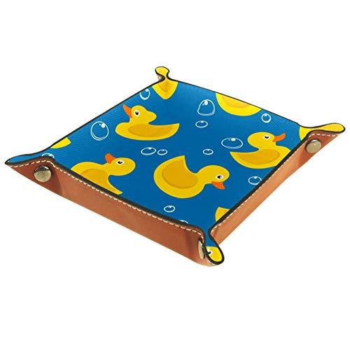 Caja de almacenamiento pequeña, bandeja de valet para hombre,Pato de goma amarillo sobre fondo azul. ,Organizador de cuero para llaves de caja de monedas