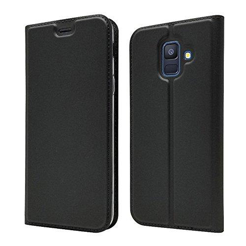 LAGUI Funda Adecuado para Samsung Galaxy A6 2018, Ultrafina Carcasa Minimalista Tipo Libro con tapa Imantada y Ranura para Tarjeta y Soporte Horizontal, Negro