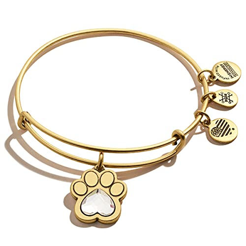 Alex and Ani Expandable Bangle for Women, Crystal Paw Prints of Love Charm, Rafaelian Gold Finish, 2 to 3.5 in