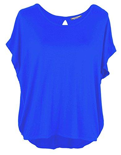 Emma & Giovanni Damen Basic Sommer T-Shirt/Oberteile Kurzarm, Elektrisches Blau, Gr.- DE 36-38 (Herstelleretikett M)