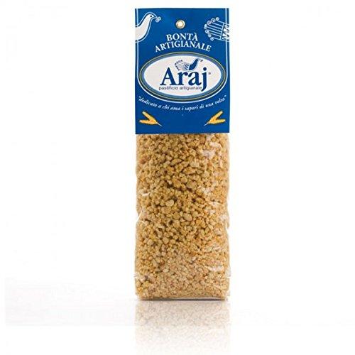 500 gr - Fregola sarda, Fregula, Fregua - pasta fatta a mano, con grano duro Cappelli, macinata a pietra dal pastificio Araj