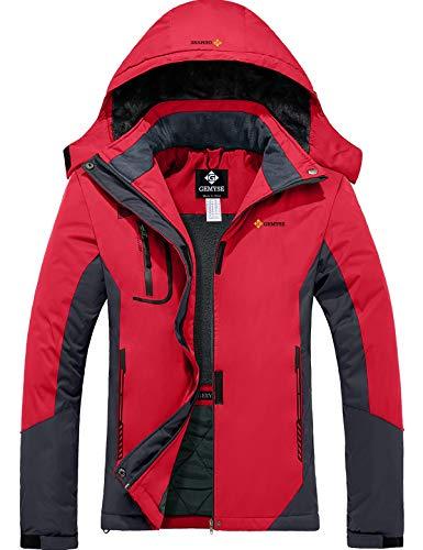 GEMYSE wasserdichte Berg-Skijacke für Frauen Winddichte Fleece Outdoor-Winterjacke mit Kapuze (Rotgrau,L)