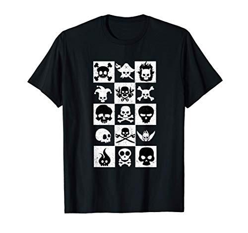 人気 おもしろい 国外 頭蓋骨 不気味なアート コスチューム チェス盤のように 幽霊 お墓 死者の日 11月 ハロウィン Tシャツ