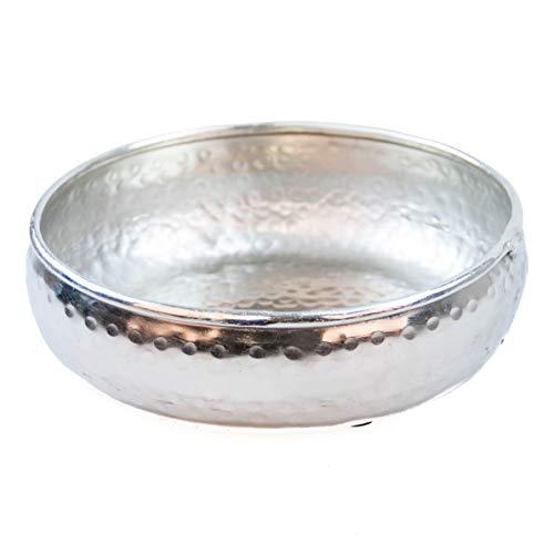Orientalisches rundes Tablett Schale aus Metall 22cm groß Silber | Orient Dekoschale mit hohem Rand | Marokkanisches Serviertablett Rund | Orientalische Silberne Deko auf dem gedeckten Tisch