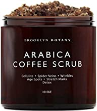 Brooklyn Botany Arabica Coffee Body Scrub & Face Scrub - 100% Natural - Coconut and Shea Butter - Best Anti Cellulite & Stretch Mark Treatment, Spider Vein Therapy for Varicose Veins & Eczema- 10 oz