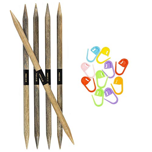 Lykke Knitting Needles Double Point DPN Driftwood 6 inches Long (15cm) US 0 (2mm) Bundle with Artsiga Crafts Stitch Markers