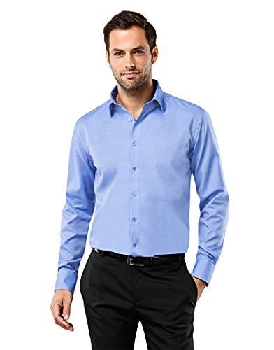 Vincenzo Boretti Herren-Hemd bügelfrei 100% Baumwolle Regular-fit New-Kent Kragen Uni-Farben - Männer lang-arm Hemden für Anzug Krawatte Business Hochzeit Freizeit blau 45/46