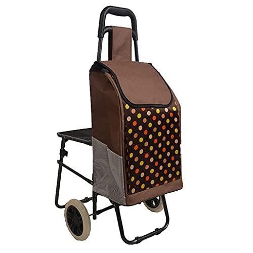 YGB Carrito de Compras multifunción con Silla Carrito para Bolsas de Tela/Carrito para Equipaje/Carrito pequeño Supermercado para Ancianos Carros de Acero/Carros de Mano de Almacenamiento, 5