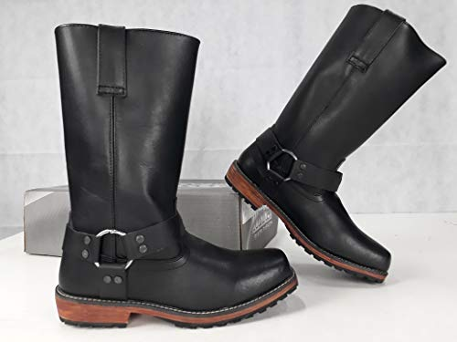 Stivali in vera pelle con suola in cuoio e gomma stile vintage per moto custom (43 EU)