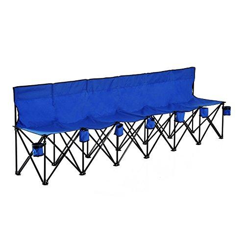Outsunny Campingbank Faltbank Gartenbank Klappbank Bank Camping 6-Sitzer mit Tragetasche, Oxford+Metall, Schwarz/Blau, 279x48x80cm (Blau)