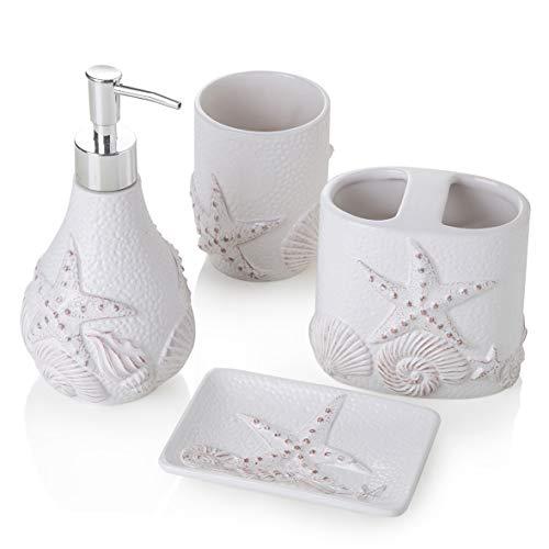 MONTEMAGGI, 4-teiliges Bad-Set aus Keramik, Weiß, Muschelmuster Inklusive Spender, Zahnbürstenhalter, Becher und Seifenschale