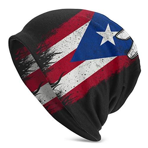 Puerto Rico Pr Flag Women Men Slouchy Beanie Oversized Baggy Skull Cap Stretchy Knit Hat Black