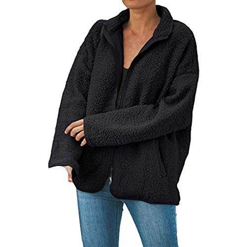 Great Price! Kiminana Women's Loose Zip Pocket Fluffy Jacket Long Cardigan Oversized Up Fuzzy Fleece...