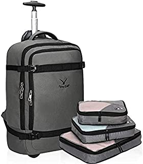 "Hynes Eagle 42L Rolling Backpack 21"" Wheeled Backpack Flight Approved Travel Backpack Carry on Luggage Backpack Luggage"