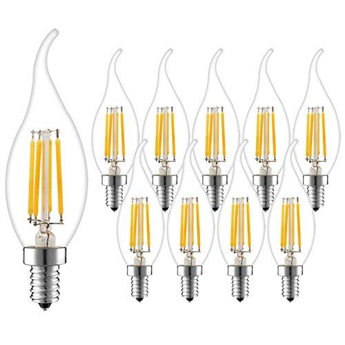 10er Pack E14 Kerze LED Lampe für Kronleuchter, Dimmbar E14 Glühfaden Retrofit Classic, 4W 360 Lumen ersetzt 30 Watt, 2700K Warmweiß, Filament Fadenlampe