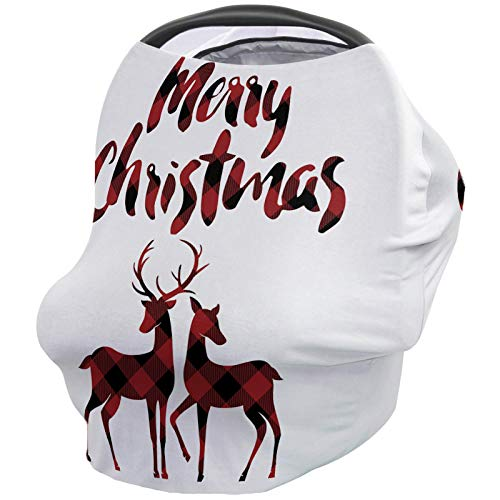 Find Discount Merry Christmas Nursing Cover for Baby Breastfeeding, Soft Breathable Stretchy Carseat...