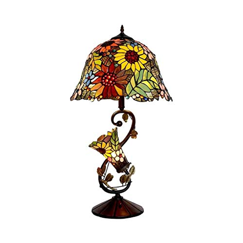 YXX Tiffany Style Table Lamp, Stained Glass Reading Desk Lamp with Night Light for Bedroom Living Room, Vintage Metal Base Decorative Bedside Lamp, 16 inch Wide, 29 inch Tall, Home Art Deco