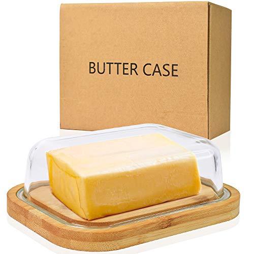 Annvchi Butterdose - Butterdose aus Glas mit hohem Borosilikatgehalt - Mit hochwertiger und nachhaltiger Bambusabdeckung - Butterdose für 250g Butter