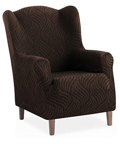 Stretch Husse für Ohrensessel Aitana - Farbe Braun - 1 Sitzer (von 70 bis 110 cm)