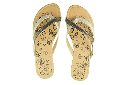 Esmara Damen Pantoletten - Sommer Schuhe - Sandalen Silber/Schwarz 38