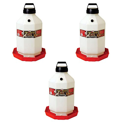 Little Giant PPF7 7 Gallon Capacity Hanging Automatic Poultry Waterer Dispenser for Livestock Chickens and Game Birds, Red (3 Pack)