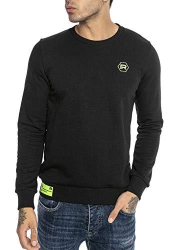 Redbridge Suéter para Hombre Sudadera Pulóver Neon Logo Stitch Negro XXL