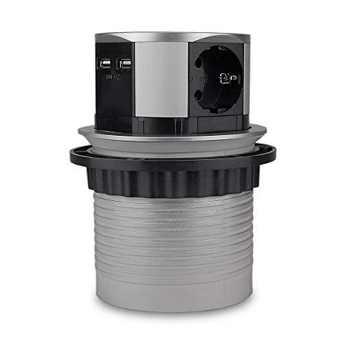 Enchufe para muebles de color plateado y gris, redondo, retráctil, ideal para cocina y oficina, 3 enchufes, con 2 enchufes USB empotrables con cable de plástico