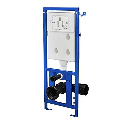 [neu.haus] WC Vorwandelement mit UP-Spülkasten für Hänge-Wand-WC (3/6 l) mit Drückerplatte