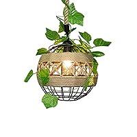 WEM ノベルティ装飾シャンデリア、ヴィンテージ麻ロープペンダントライト、ヴィンテージ錬鉄フレームラウンドペンダント照明、緑の植物で飾られた天井ペンダントランプ、カントリーファームハウスキッチンアイランドコリドーシャンデリア