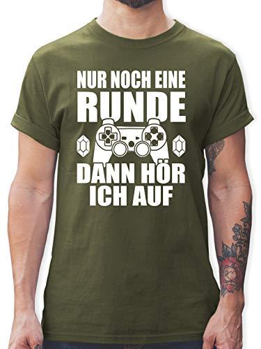 Nerds & Geeks - Nur noch eine Runde - L - Army Grün - Nerd t Shirt - L190 - Tshirt Herren und Männer T-Shirts