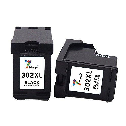 7Magic Remanufactured Cartuccia d'inchiostro HP 302 XL ( 2 nero ) ad Alta Capacità Compatibile con HP Envy 4520 4522 4524 Officejet 4650 3834 3830 4654 Deskjet 3630 2130 3636 3632 1110 Stampante