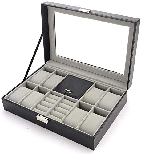 BRFDC Caja de Relojes de Cuero Caja de Reloj de 8 Relojes Gemelos y Anillos Caja de Reloj Ideal for O Seguir Este Uso Tienda