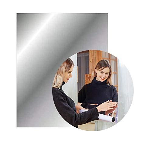 Jiechang Hojas de espejo autoadhesivas de 23.6 x 15.7 pulgadas, pegatinas de pared de espejo flexibles, suave no vidrio para decoración del hogar