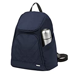 Locking compartments Slash-resistant body construction and slash-resistant, adjustable backpack straps RFID blocking card and passport slots Holds iPad or tablet Size: 12 x 16 x 6