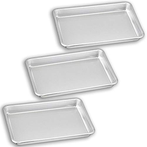 """Bakeware Set – 3 Aluminum Sheet Pan – 1/8 Size (6.5"""" x 9.5"""") – for Home Use. Perfect Size For Your Microwave Oven, Non Toxic, Perfect Baking Supply set for gifts, for new and experienced bakers alike"""